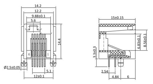 Modular Einbaubuchse Buchse, Einbau horizontal MEBE66D Schwarz econ connect MEBE66D 1 St.