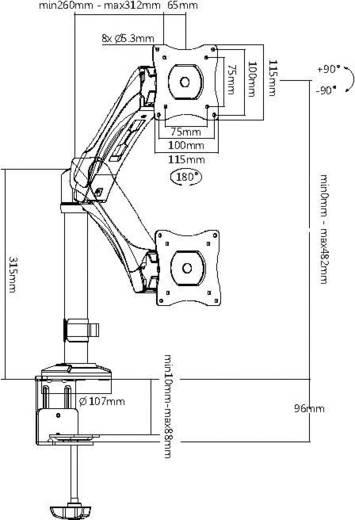 """Monitor-Tischhalterung 33,0 cm (13"""") - 68,6 cm (27"""") Neigbar+Schwenkbar, Rotierbar My Wall HL12-1L"""