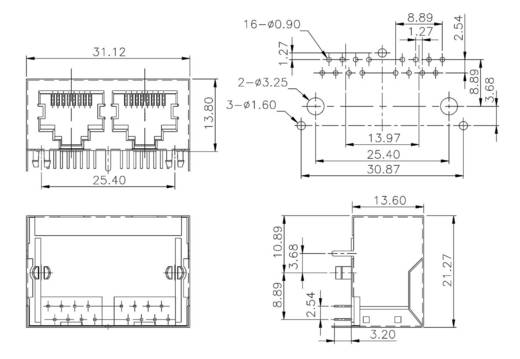 Multiport 2 x RJ45 Buchse, Einbau horizontal 3012S02 Metall econ connect 3012S02 1 St.