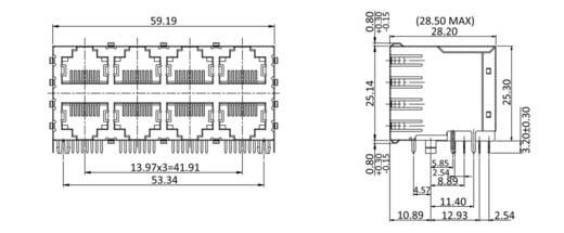 Doppelstock Multiport 8 x RJ45 Buchse, Einbau horizontal 3022S4 Metall econ connect 3022S4 1 St.
