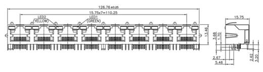 Multiport 8xRJ45 LED Buchse, Einbau horizontal M8L8G1 Metall econ connect M8L8G1 1 St.