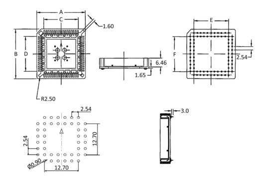 PLCC-Fassung Rastermaß: 2.54 mm Polzahl: 68 econ connect PLCC68 1 St.