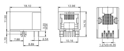 Modular-Einbaubuchse Buchse, Einbau horizontal MEB6/6PL Schwarz econ connect MEB6/6PL 1 St.