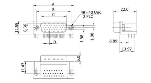 D-SUB Stiftleiste Polzahl: 15 Lötpins econ connect ST15HDW/G 1 St.