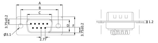 D-SUB Stiftleiste 180 ° Polzahl: 9 Lötkelch econ connect ST9LK/V 1 St.