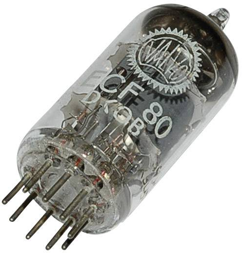 Elektronenröhre ECF 80 = 6 BL 8 Triode-Pentode 100 V, 170 V 14 mA, 10 mA Polzahl: 9 Sockel: Noval Inhalt 1 St.