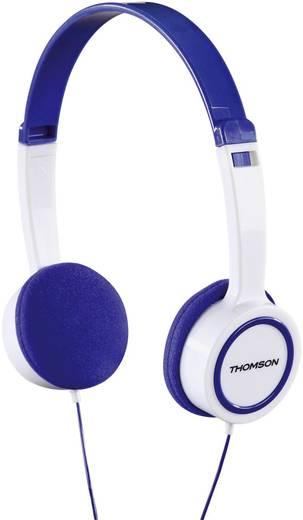 Thomson HED1105BL On-Ear-Kinderkopfhörer Kinder Kopfhörer On Ear Lautstärkebegrenzung, Leichtbügel Weiß, Blau