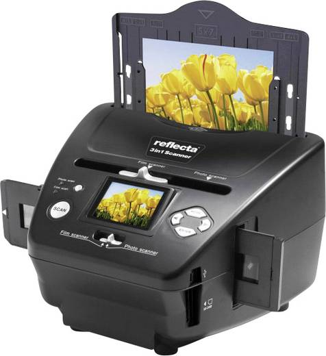 Diascanner, Fotoscanner, Negativscanner Reflecta 3in1 Scanner 1800 dpi Digitalisierung ohne PC, Display, Speicherkarten