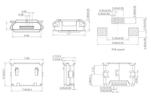 Einbaubuchse Micro USB Buchse, Einbau horizontal MICUB5BBS 1 Port econ connect Inhalt: 1 St.
