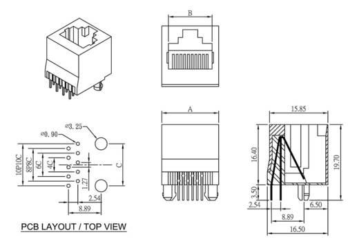 Modular-Einbaubuchse Buchse, Einbau vertikal Pole: 6 MJTN66A Schwarz econ connect MJTN66A 1 St.