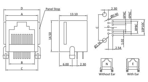 Modular-Einbaubuchse Buchse, Einbau horizontal Pole: 4 MJUSE44GAB Schwarz econ connect MJUSE44GAB 1 St.