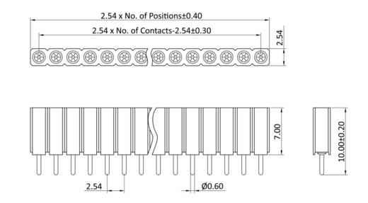 Buchsenleiste (Präzision) Anzahl Reihen: 1 Polzahl je Reihe: 40 econ connect MP70S40 1 St.
