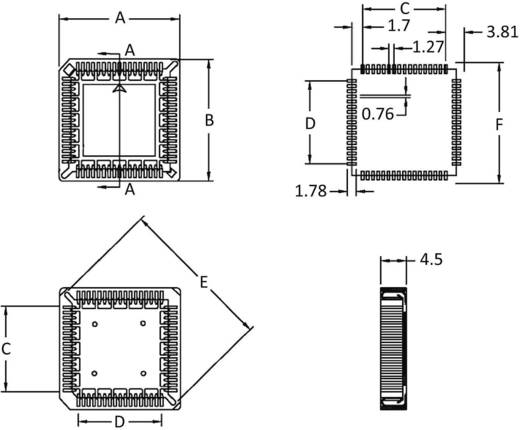 SMD PLCC-Fassung Rastermaß: 1.27 mm Polzahl: 32 econ connect PLCC32SMDR 1 St.