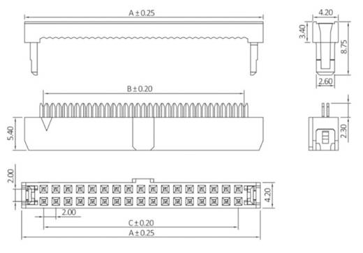 Pfosten-Steckverbinder Rastermaß: 2 mm Polzahl Gesamt: 26 Anzahl Reihen: 2 econ connect 1 St.