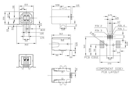 Einbaubuchse USB-B SMD 90G Buchse, Einbau horizontal UBU1BSMD 1 Port econ connect Inhalt: 1 St.