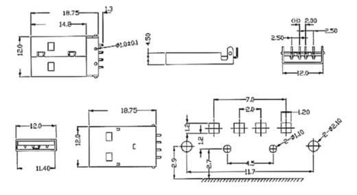 Einbaustecker USB-A DIP Stecker, Einbau US1AF 1 Port econ connect Inhalt: 1 St.