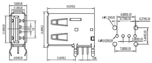 Einbaubuchse USB-A Print Buchse, Einbau horizontal USBBUVA 1 Port econ connect Inhalt: 1 St.