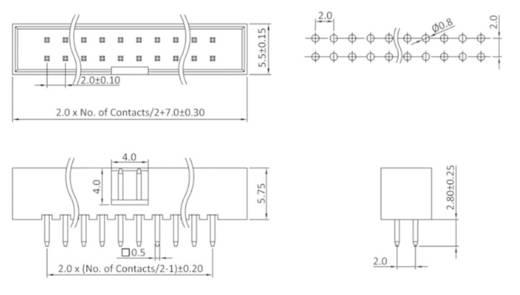 Stiftleiste (Standard) WS Polzahl Gesamt 50 econ connect WS50GRM2 Rastermaß: 2 mm 1 St.