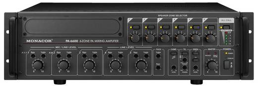 ELA-Verstärker Monacor PA-6600 600 W 6-Zonen