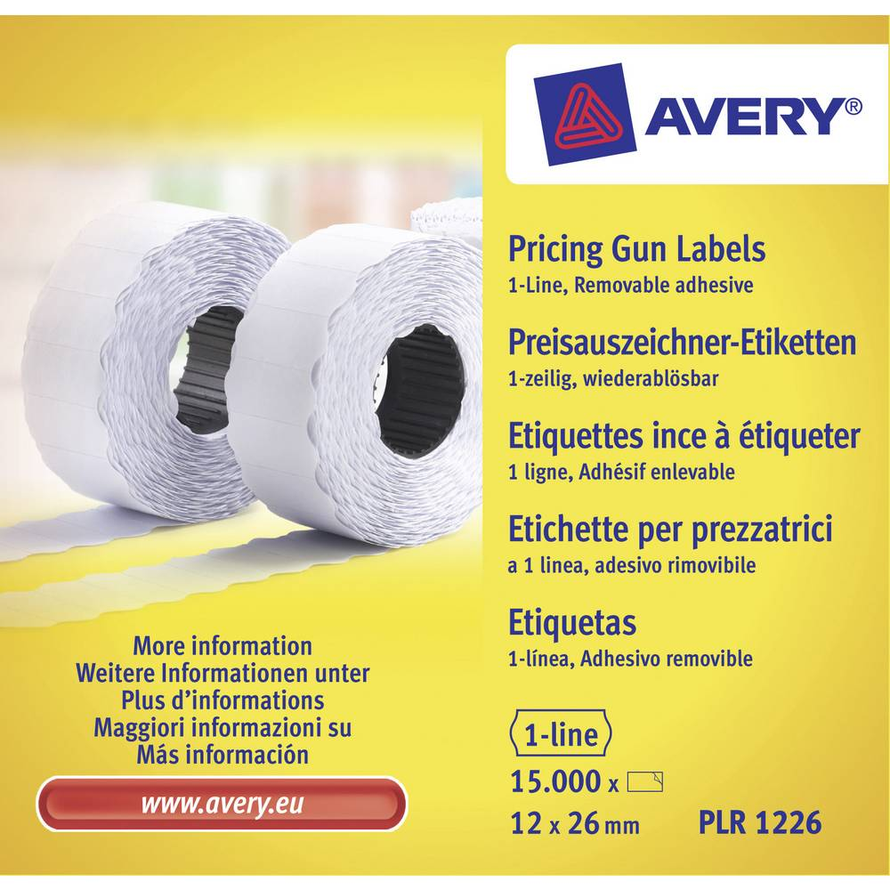 Avery-Zweckform Prisetiketter PLR1226 Repositionerbart Etikettbredd: 26 mm Etiketthöjd: 12 mm Vit 15000 st