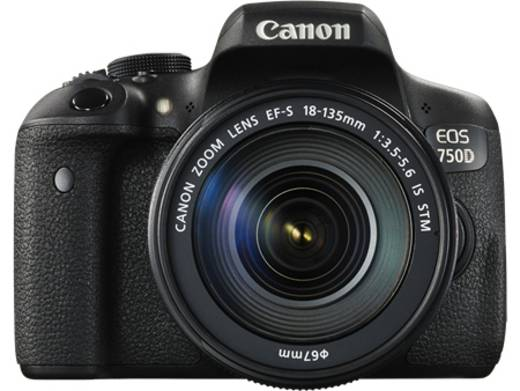 Digitale Spiegelreflexkamera Canon EOS 750D EF-S 18-55 mm IS STM 24.2 Mio. Pixel Schwarz Blitzschuh, Dreh-/schwenkbares