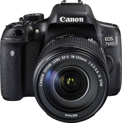 Digitale Spiegelreflexkamera Canon EOS 750D inkl. EF-S 18-135 mm IS STM 24.2 Mio. Pixel Schwarz Blitzschuh, Dreh-/schwen