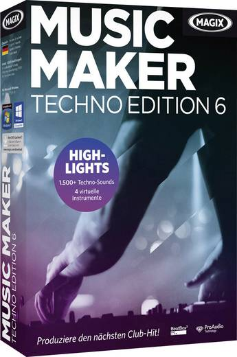 Magix Music Maker Techno Edition 6 Vollversion, 1 Lizenz Windows Musik-Software