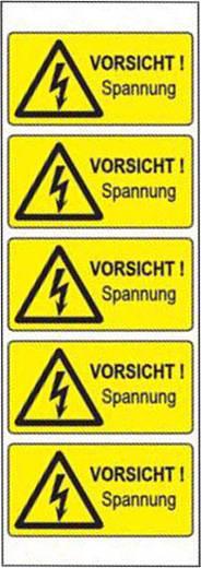 Warn-Kombischild Achtung Vorsicht! Spannung Folie selbstklebend 5 St.