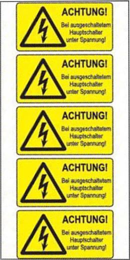 Warn-Kombischild Bei ausgeschaltetem Hauptschalter unter Spannung Folie selbstklebend 5 St.