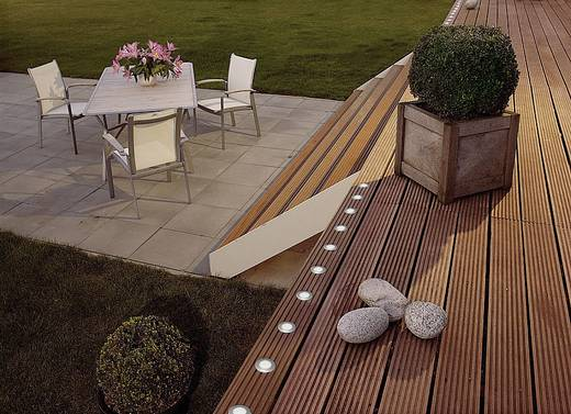 Solar-Beleuchtungssystem sun'connec LED-Einbauleuchte LED 1 W Kalt-Weiß Lutec Hony Deck 9048 Aluminium