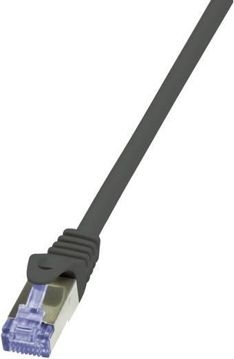 RJ45 Netzwerk Anschlusskabel S/FTP 5 m Schwarz vergoldete Steckkontakte, Flammwidrig, mit Rastnasenschutz LogiLink