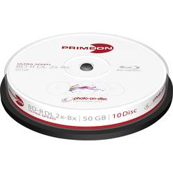Image of Primeon 2761312 Blu-ray BD-R DL Rohling 50 GB 10 St. Spindel Bedruckbar
