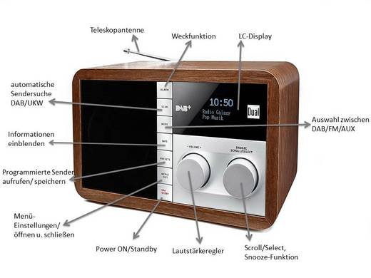 dual dab 32 dab tischradio aux dab ukw holz kaufen. Black Bedroom Furniture Sets. Home Design Ideas
