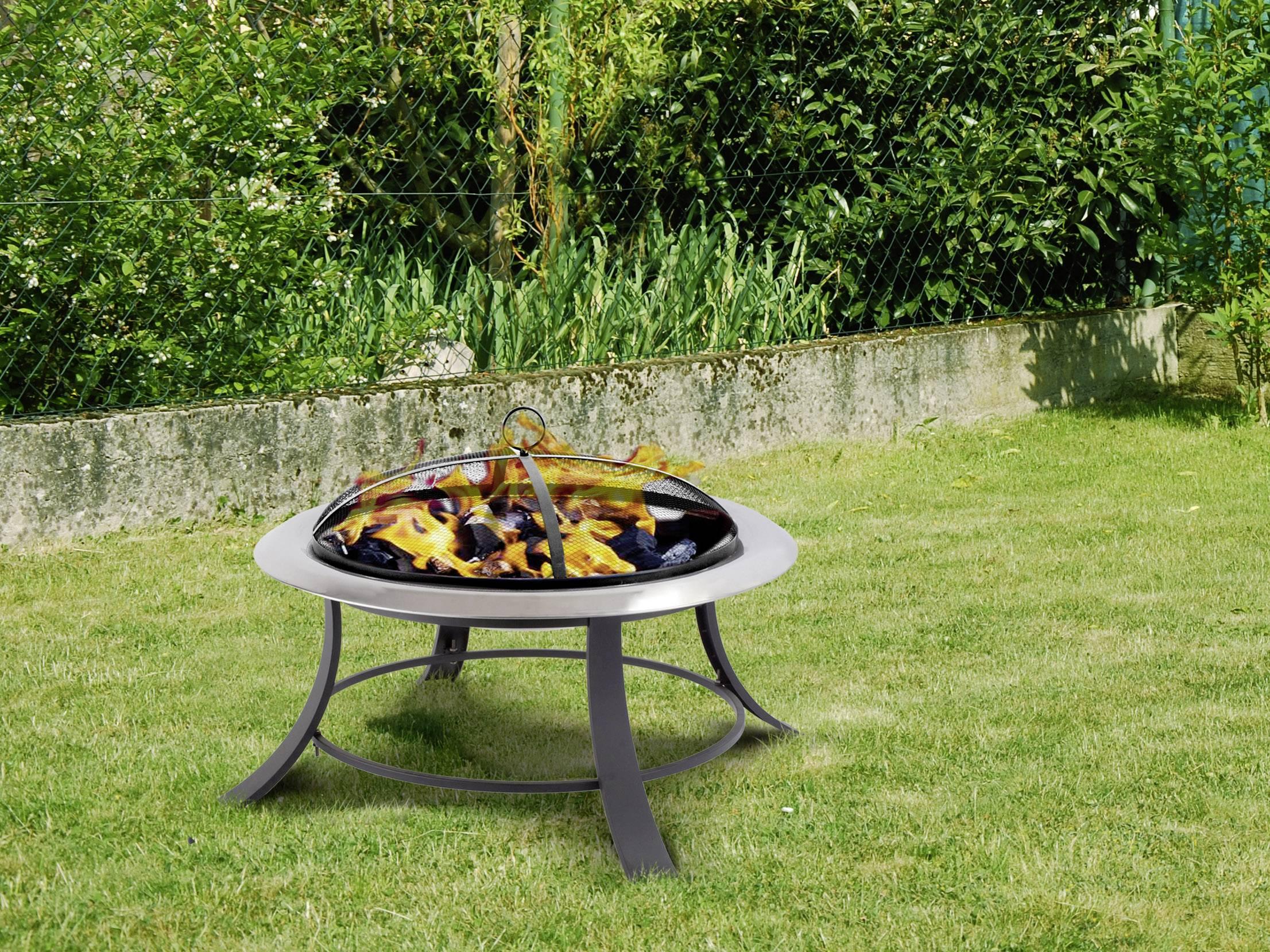 Feuerstelle Garten Rund : Tepro garten silver city rund feuerstelle mit funkenschutz schwarz