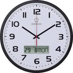 DCF nástěnné hodiny s kalendářem Renkforce HD-WRCL135, Vnější Ø 32 cm, černá