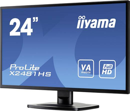 Iiyama X2481HS-B1 LED-Monitor 59.9 cm (23.6 Zoll) EEK B 1920 x 1080 Pixel Full HD 6 ms VGA, DVI, HDMI™ VA LED