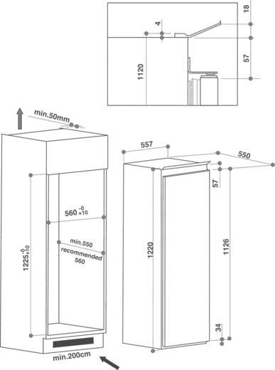 bauknecht einbau k hlschrank mit gefrierfach kvie 2125. Black Bedroom Furniture Sets. Home Design Ideas