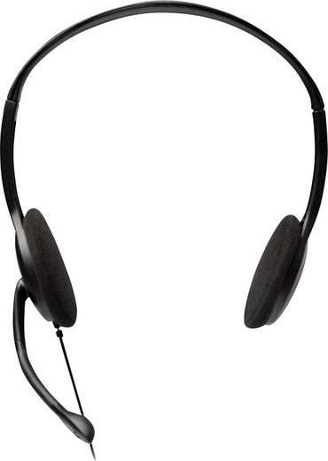 PC-Headset 3.5 mm Klinke schnurgebunden, Stereo V7 Videoseven HA201-2EP On Ear Schwarz/Silber
