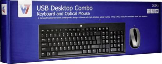 USB-Tastatur, Maus-Set V7 Videoseven Combo Spritzwassergeschützt Schwarz, Grau