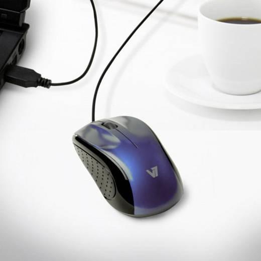 USB-Maus Optisch V7 Videoseven MV3030-USB-5EB Kabeleinzug Schwarz
