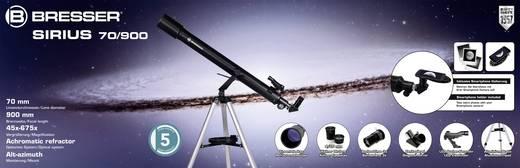 Linsen-Teleskop Bresser Optik Sirius 70/900 AZ Azimutal Achromatisch, Vergrößerung 45 bis 675 x