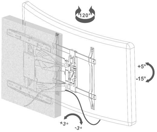"""Curved TV-Wandhalterung 81,3 cm (32"""") - 165,1 cm (65"""") Neigbar+Schwenkbar, Rotierbar SpeaKa Professional 29215C40"""