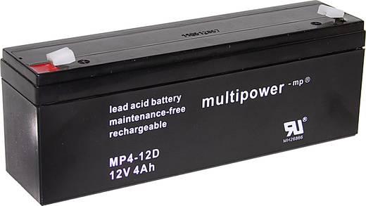 Bleiakku 12 V 4 Ah multipower MP4-12D A97402 Blei-Vlies (AGM) (B x H x T) 195 x 76 x 47 mm Flachstecker 4.8 mm Wartungsf