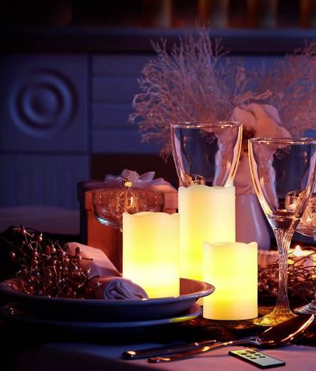 LED-Echtwachskerze Elfenbein Warm-Weiß (Ø x H) 7.5 cm x 15 cm Polarlite