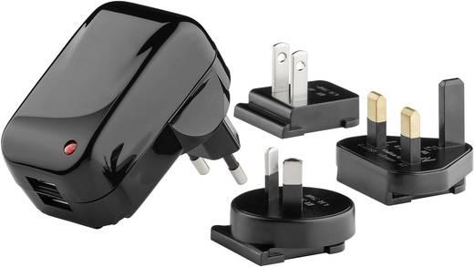 Goobay 43796 43796 USB-Ladegerät Steckdose Ausgangsstrom (max.) 2000 mA 2 x USB mit UK-Adapter, mit Australien-Adapter,