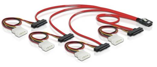 Festplatten Anschlusskabel [1x Mini SAS-Stecker (SFF-8087) - 4x SATA-Kombi-Stecker 7+15pol., IDE-Strom-Stecker 4pol.] 0.