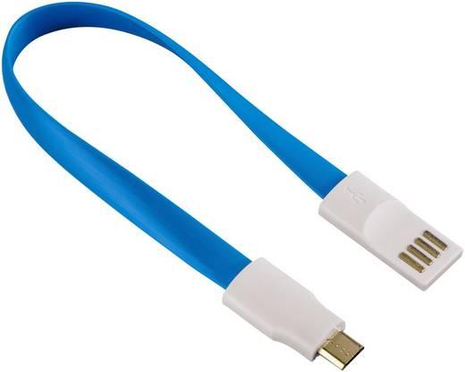 Hama USB 2.0 Kabel [1x USB 2.0 Stecker A - 1x USB 2.0 Stecker Micro-B] 0.2 m Blau Magnet an den Kabelenden