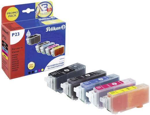 Pelikan Tinte ersetzt Canon PGI-525, CLI-526 Kompatibel Kombi-Pack Schwarz, Photo Schwarz, Cyan, Magenta, Gelb P23 41075