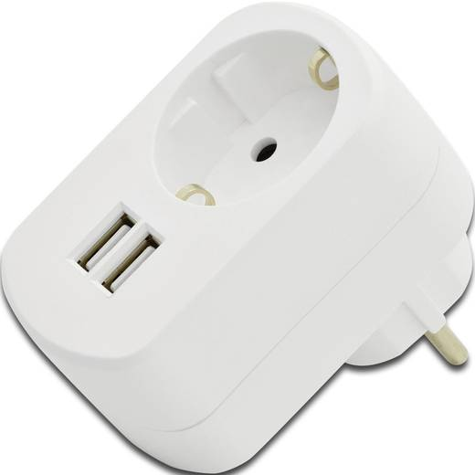 ednet 31804 31804 USB-Ladegerät Steckdose Ausgangsstrom (max.) 2100 mA 2 x USB, Schutzkontakt-Steckdose