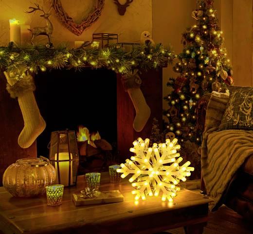 LED-Tischdeko Schneeflocke Warm-Weiß LED Polarlite LDE-04-005 Weiß